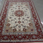 tappeto isfahan fondo avorio misto seta da salotto