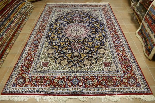 tappeto Isfahan Extrafine Misto Seta fondo blu