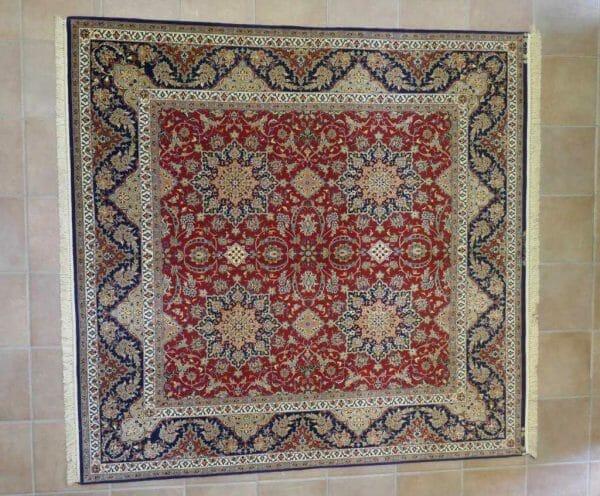 tappeto Isfahan rosso Extrafine Misto seta quadrato