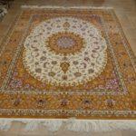 tappeto Isfahan da sala arancio avorio