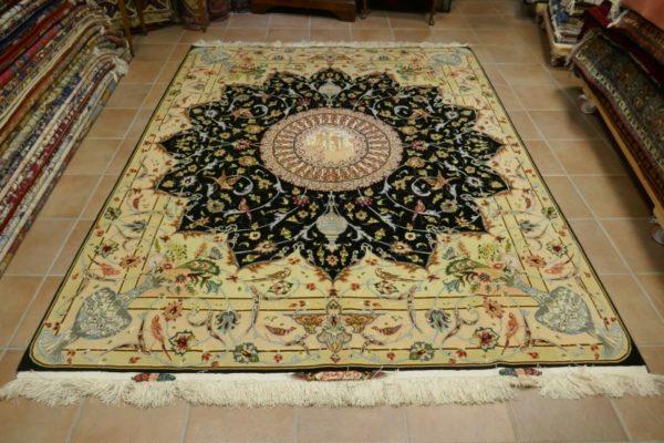 tappeto Tabriz 60raj fondo nero268x205