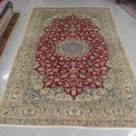 tappeto nain 9 fili da sala color rosso