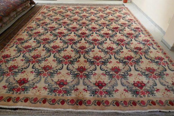 tappeto khorasan grande senza medaglione beige e rosso