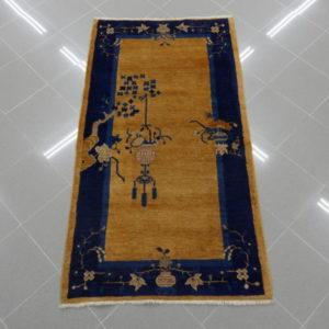 antico tappetino cinese periodo dèco giallo blu