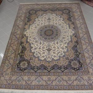 tappeto grande nain 6 fili color avorio grigio blu firmato
