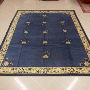 antico tappeto cinese azzurro grande